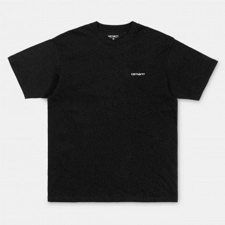 S/S Script Embroidery T-Shirt Black / White